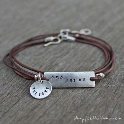 DIY Leather Wrap Stamped Metal Bracelet