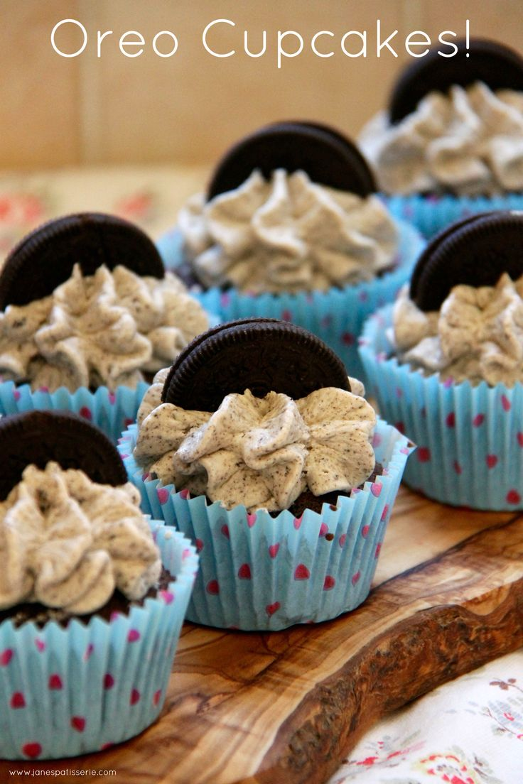 Oreo Cupcake - Light & Moist Chocolate Cupcakes filled with a whole Oreo, Oreo Buttercream, and even another one on top!