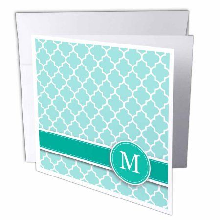 3dRose Personalized letter M aqua blue quatrefoil pattern Teal turquoise mint monogrammed personal initial, Greeting Cards, 6 x 6 inches, set of 12