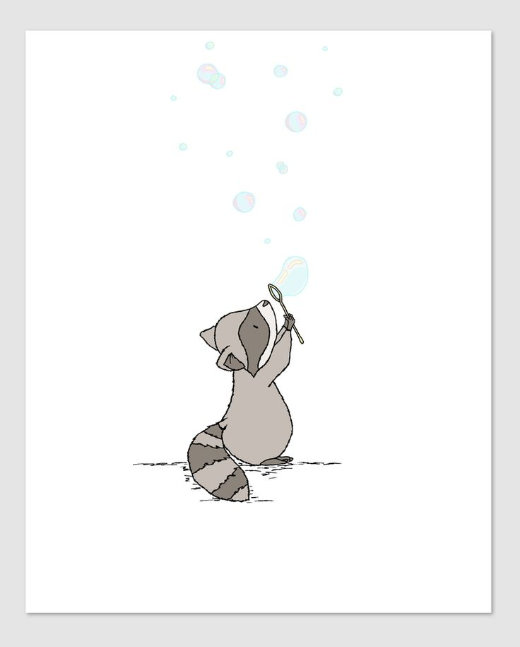 Woodland Nursery Art - Raccoon Bubbles