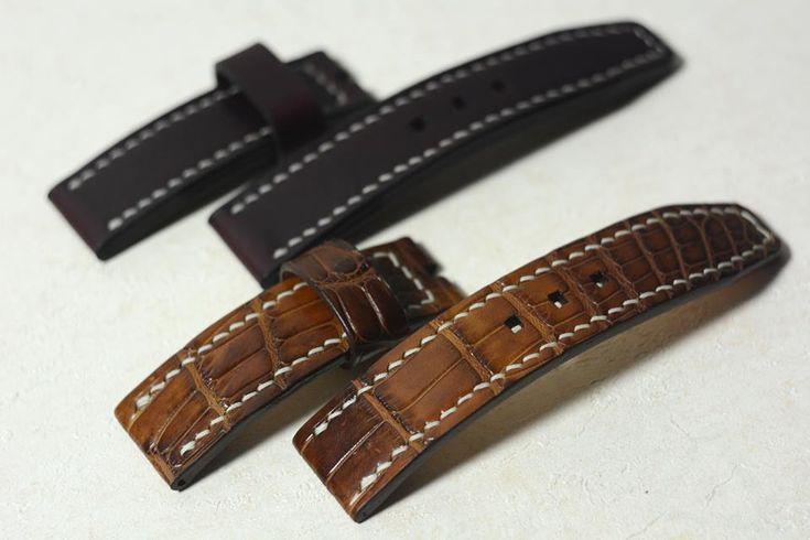Комплект часовых ремешков к Alexandre Christie Bronzium Limited Edition из кожи Horween Chromexcel и крокодила (каймана). Размер 75\115 мм, 24\24 мм. Толщина 5 мм. Шитье вручную седельным швом, вощеной нитью.