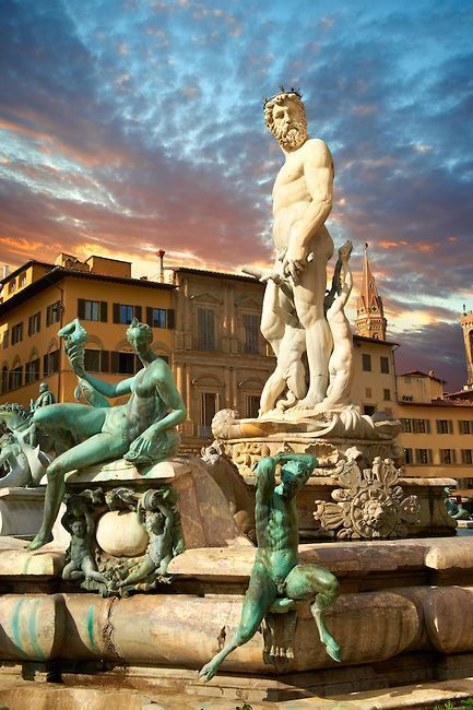 The Fountain of Neptune, Piazza della Signoria, Florence, Italy, province of Florence Tuscany