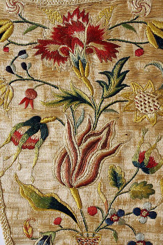 Stomacher Date: 1700–1725 Culture: German Medium: silk Dimensions: Length: 11 1/2 x 6 3/4 in. (29.2 x 17.1 cm)