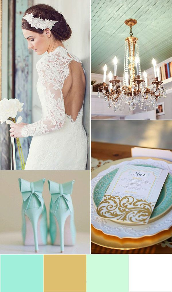 mint green and gold wedding ideas