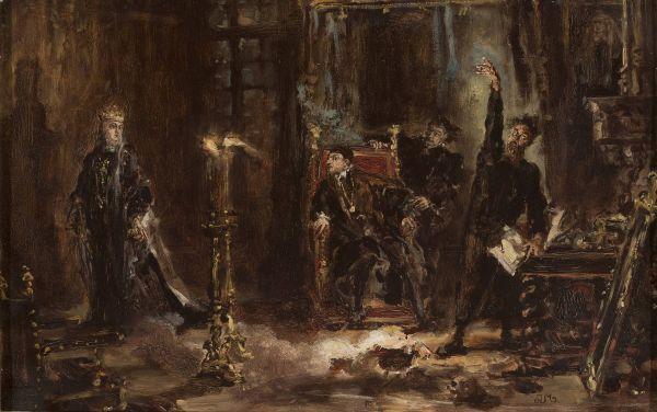 Twardowski wywołujący ducha Barbary przed Zygmuntem Augustem, szkic - Jan Matejko