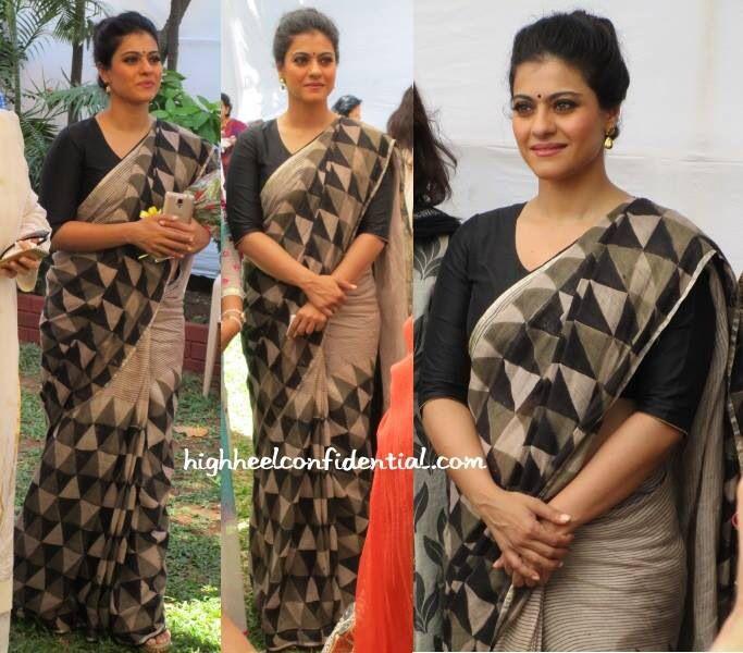 Kajol rocks a pretty linen saree by Anavila