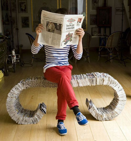 papier mache' bench!Google Image, Gift Ideas, Metals, Recycle Furniture, Art, Paper Mache, Recycle Newspaper, Newspaper Benches, Design