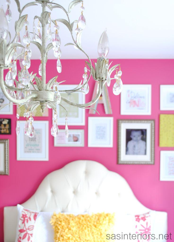 big girl bedroom via sasinteriorsnet bold wall color with white tufted headboard