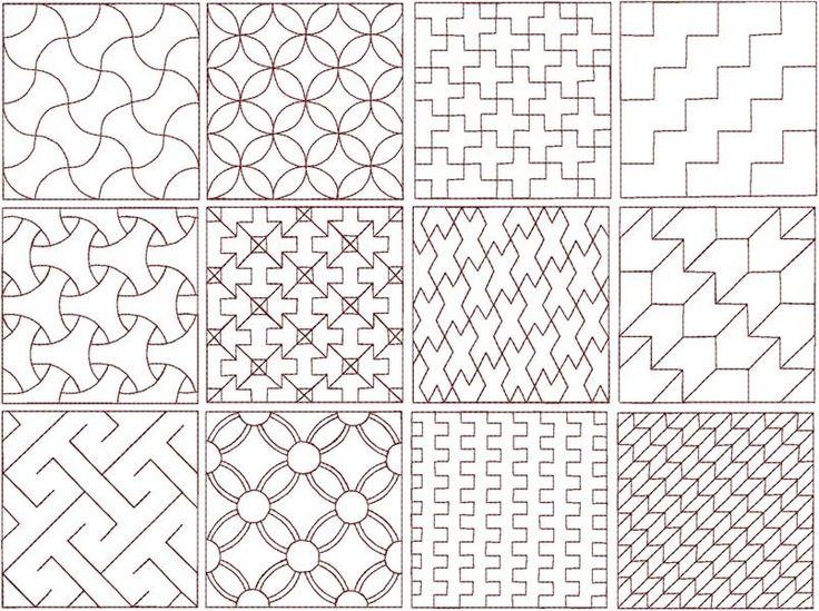 Verschillende Sashiko-patronen.