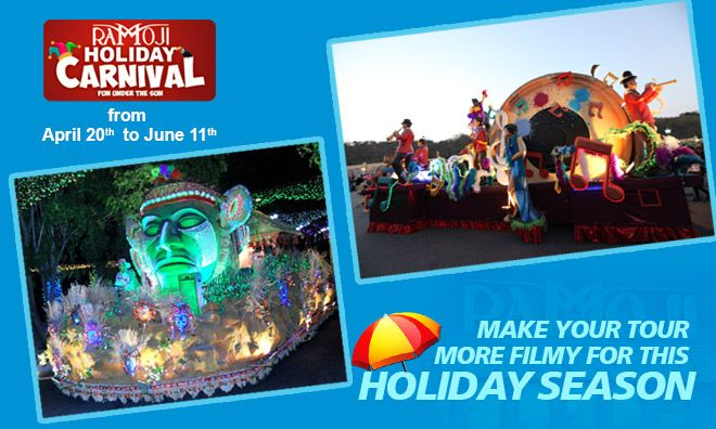 Long awaited Holiday Carnival is fast approaching! An array of exciting events is certainly a wonderful opportunity! Book your Tour + Stay to experience the most Spectacular Ramoji Film City Tour, Fascinating Carnival Parade, Mesmerizing Stage Shows, Filler Acts & many many more!