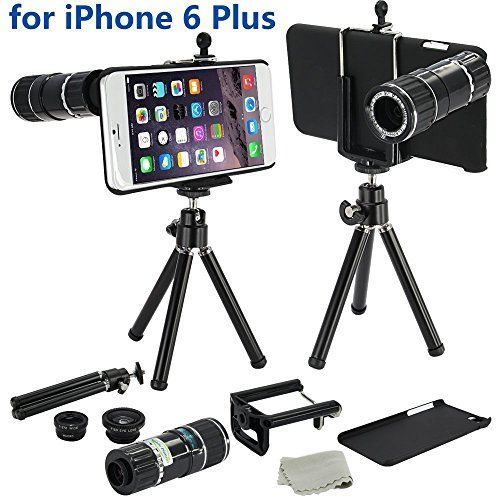 12x Black 4 in 1 Camera Lens Kit Set Manual Focus with Tripod 3 Quick-Connect Lens Solution Fisheye Lens Macro Lens Wide-angle Lens 1 Universal Holder 1 Mini Tripod 1 Protection Case 1 Microfiber Digital Cleaner - for Apple iPhone 6 + Plus 5.5