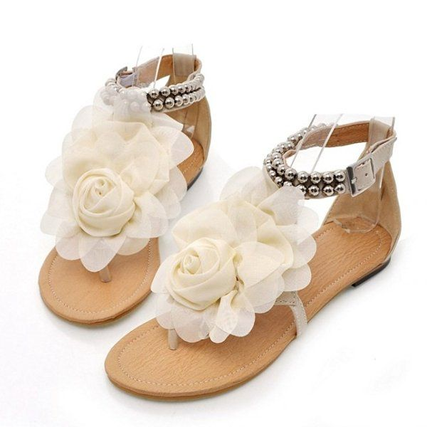 TAOFFEN Women HOT SALE High Quality Dress Shoes Sexy Heels Women's Fashion Flat Floral Sandals Leather