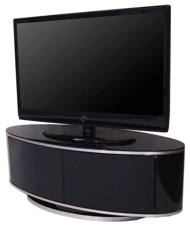 MDA Designs high gloss black oval TV stand with swivel base and remote friendly glass | The Plasma Centre