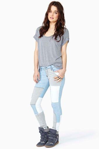 Skinny Jeans parcheado