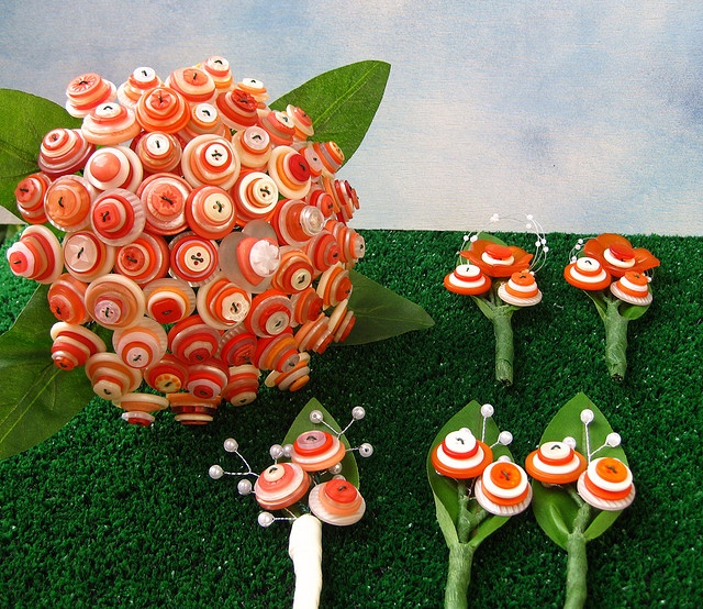 button bouquet and boutonnieres  by rbkcreations via etsy