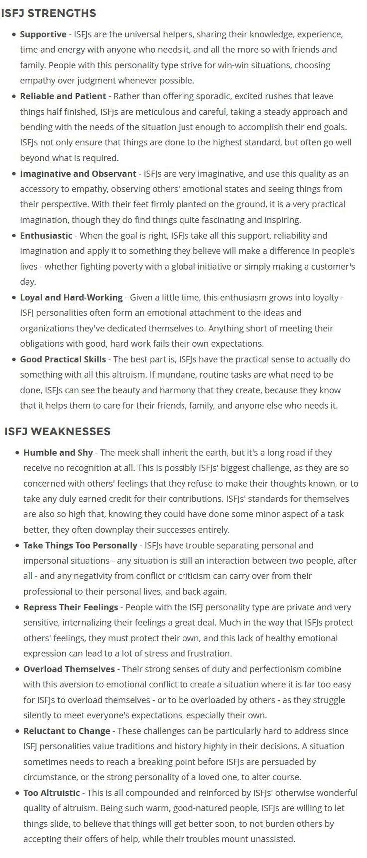 ISFJ Strengths & Weaknesses