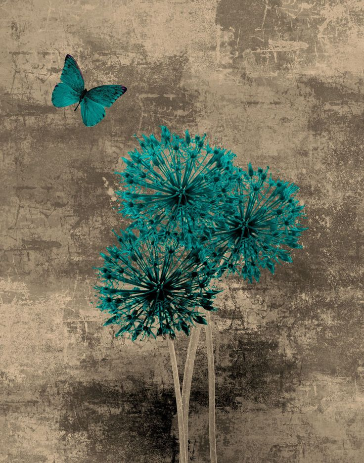 Teal Brown Blue Butterfly Floral Wall Art/Home Interior Decor Matted Picture in Home & Garden | eBay