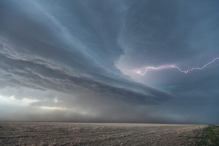 Credit: Roger Hill/Barcroft Media Horizontal lightning shoots from the centre of a supercell thunderstorm near the town of Boise City, Oklahoma