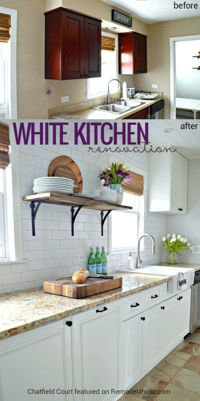 Beautiful white kitchen renovation to replace white cabinets and add subway tile and a DIY plank ceiling Chatfield Court on @Remodelaholic