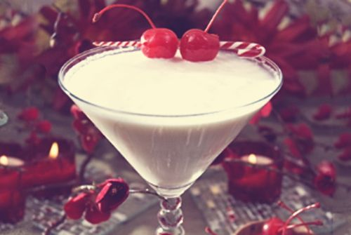 Very Cherry Christmas drink recipe - Three Olives Cherry Vodka, Bailey's, Chocolate Liqueur, Cream, Chocolate Syrup
