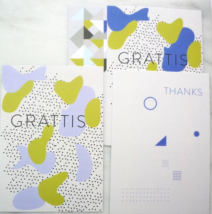 Greeting Cards • Set of 4 Cards • Grattis • Thanks • With Envelopes by AlvisPaperMarket on Etsy