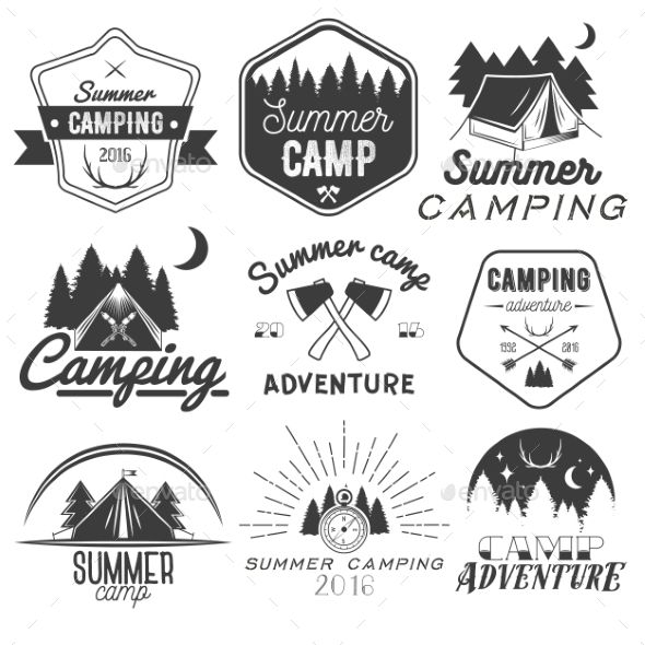 Set of Camping Labels in Vintage Style. Download here: http://graphicriver.net/item/set-of-camping-labels-in-vintage-style/15128896?ref=ksioks