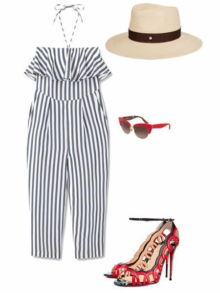 Spring-summer 2016 outfit: Jumpsuit by MANGO, Hat by MAISON MICHEL, Sunglasses by DOLCE & GABBANA, Shoes by CHRISTIAN LOUBOUTIN