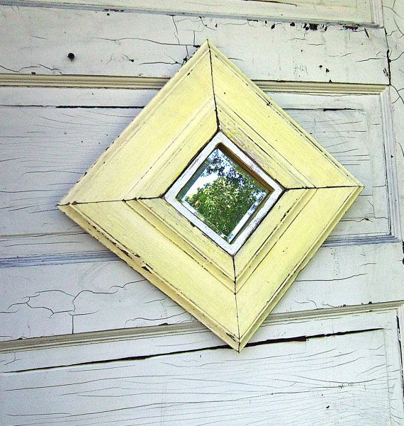 Yellow+Framed+Mirror+Reclaimed+Wood+Mirror+Accent+by+woodenaht,+$40.00