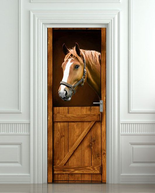 Door STICKER Horse Barn Stable Stall Mural Decole Film Self Adhesive Poster  Cm)   Pulaton Stickers And Posters   1