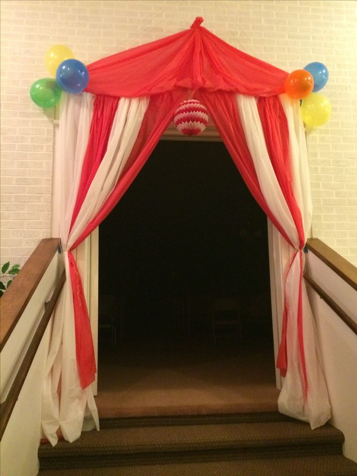 Tent Entrance we made for our circus themed preschool graduation!
