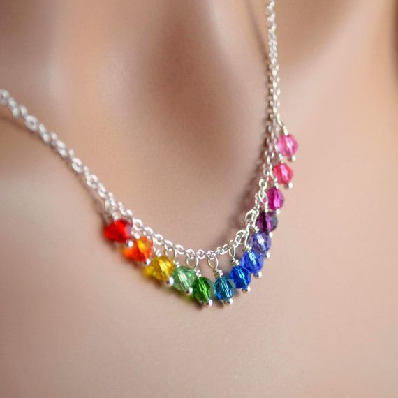 NEW Rainbow Crystal Necklace, Swarovski Beads, Silver Plated Chain, Fun Bright Colorful Jewelry, Wire Wrapped Fringe