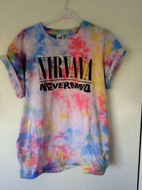t-shirt dye colorful nirvana nevermind tshirt tie dye shirt swag hipster vintage graphic tee nirvana t-shirt colorful galaxy