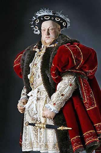 Portrait length color image of Henry VIII aka. Henry VIII of England, Henry Tudor, by George Stuart.