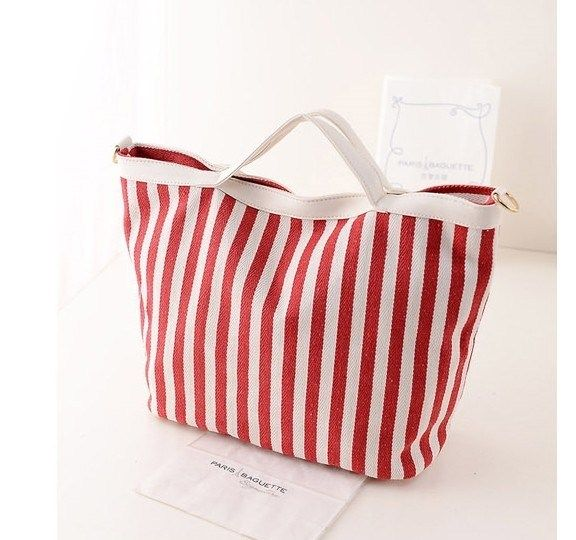 Stylish #Canvas #Striped #Handbag