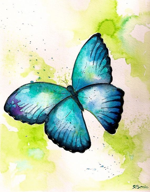 """Títol: """"Aqua Butterfly"""". Autora: Limezinnias Design. Data: desconeguda. Pintura d'aquarel·la.                                                                                                                                                     Más"""