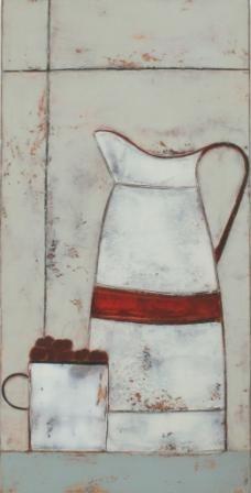Anji Allen  Enamel jug, mug and cherries