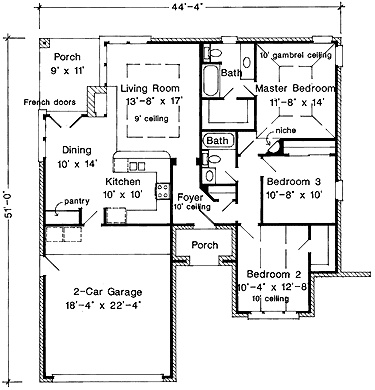 Three Bedroom European Small Ranch Home Plan (AFLLGW00145)