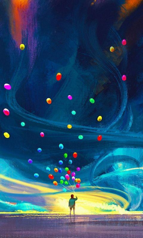 Boy With Balloons Storm Sky Art 480x800 Wallpaper Art Fantastic Art Android Wallpaper