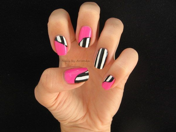 Eye-catching: Nails Nails, Nailart, Black And White, Pink Nails, Color, Nail Design, Beauty, Nail Art, Art Nails
