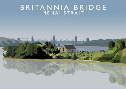 Britannia Bridge, Menai Strait Art Print