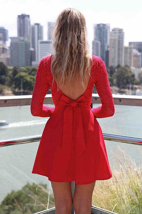 6bf8aa13e Red Cocktail Dress - Red Long Sleeve Skater Dress | UsTrendy This is  adorable! :) | Bows▻♢◅Bows▻♢◅Bows | Dresses, Prom dresses, Skater Dress