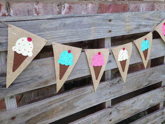 Ice Cream Theme Bunting/ Ice Cream Banner/ by NurturedSoulDesigns, $23.50