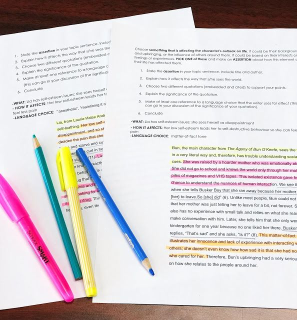 Color Coding as a Writing Strategy | Writing lessons ...