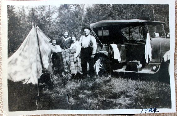 1922 Family Camping Trip Tent Old Car by PhotoTreasureChest, $4.00