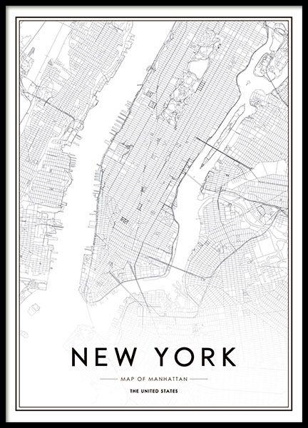 Poster met de stad New York. Een stijlvolle zwart-wit foto en de tekst New York City. Deze poster is erg mooi om ingelijst aan de muur te hangen en past zowel bij klassiek als modern interieur. Als u van New York houdt, dan hebben we meerdere posters met zowel kaarten, tekst als afbeeldingen bij onze categorie Kaarten en steden. www.desenio.nl