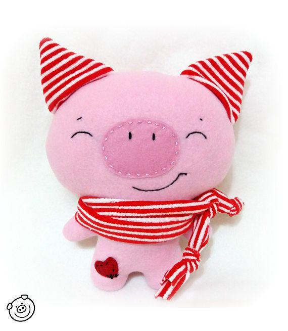 Stuffed pig pink stuffed animal kawaii pig piggy plush toy