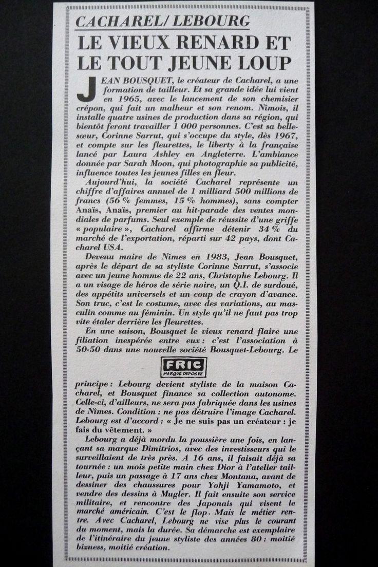 CACHAREL / LEBOURG  LE CANARD ENCHAINÉ 1986