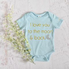 """ I love you to the moon and back"" Onesie. Thats a whole lot of loving! This is the perfect shower gift for any mother to be!  Support small business and order now from Nora Gray. An Indiana boutique that focuses on small makers across the USA. This onesie was screen-printed in the USA."
