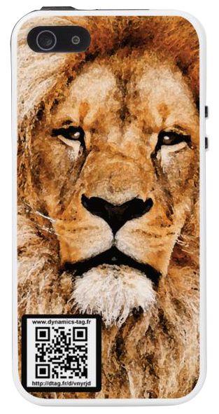 Coque de portable IPhone 5/5s associée à une carte de visite virtuelle via un qrcode : illustration : Lion Roi de la jungle