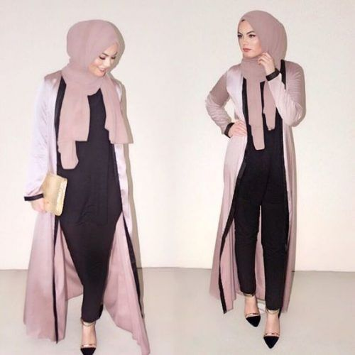 blush pink abaya outfit- Abaya hijab fashion from Dubai…